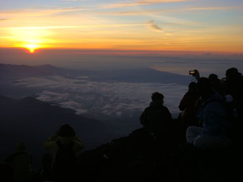 Fuji dawn and spectators